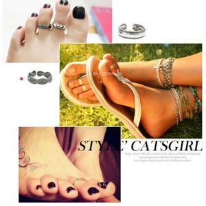 Braided Eternity Retro Silver Midi Ring Toe Ring